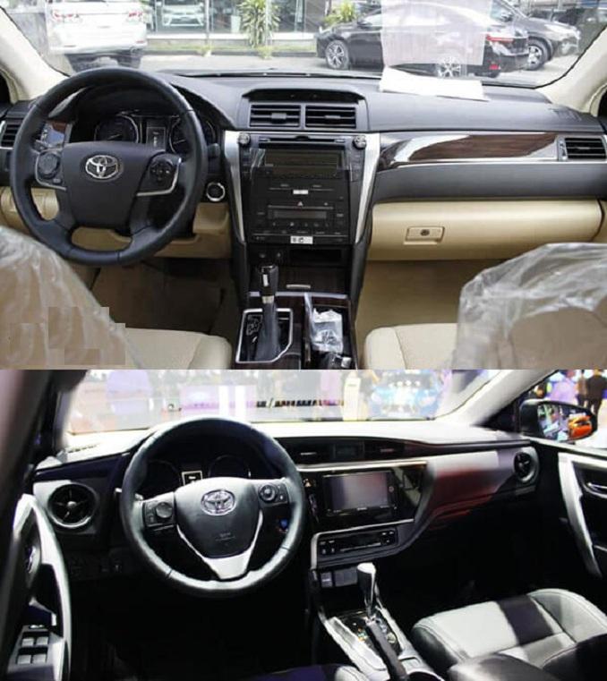 So sánh nội thất Toyota Camry 2.0E và Toyota Altis 2.0V